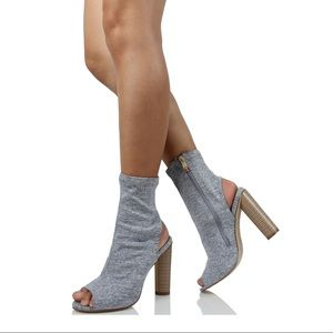 Grey peep toe side zipper Stacked heel ankle boot